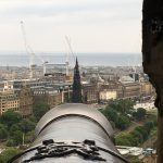 Edinburgh Castle Cannon—Waverley Tower In Its Site