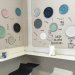"Image of plates and ""grafitti"" on wall"