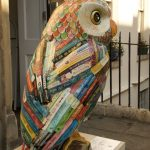 Owl Sculpture across from Backpackers Hostel in Bath